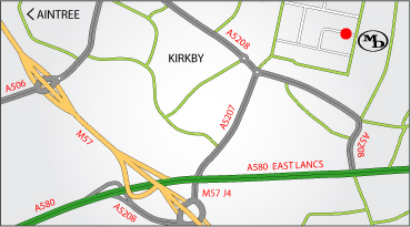 Map to Merseyside Dairies Ltd - Knowsley, Merseyside